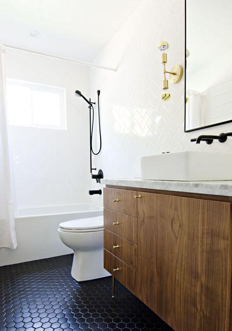 Black Tile Floor Wood Cabinet Black Faucet Bathroom Floor