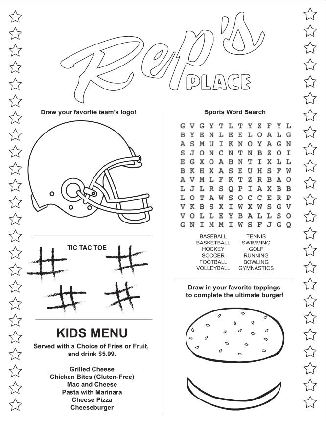 Kids Restaurant Placemat Sports Google Search Kids Restaurants Kids Menu Favorite Team