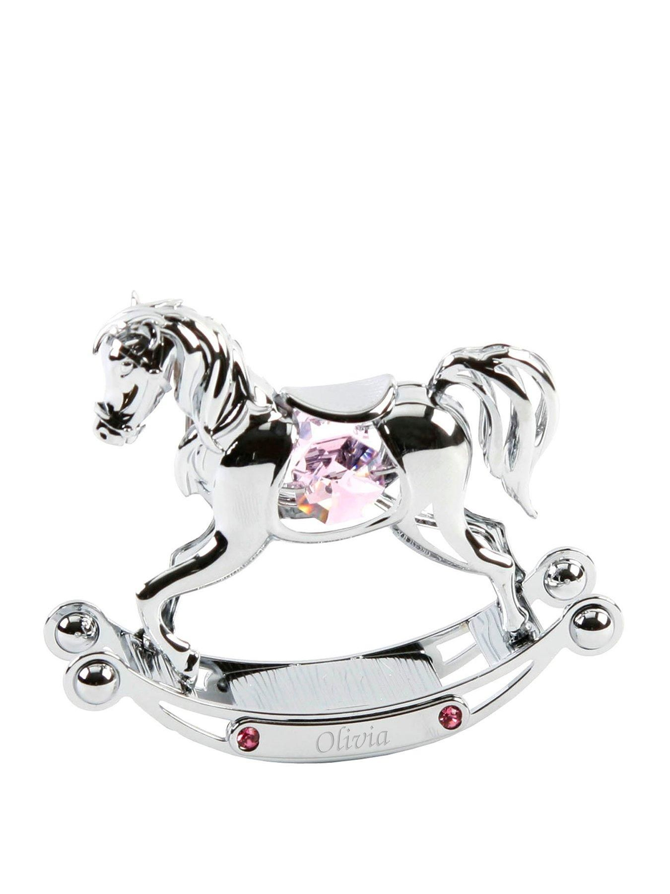 Horse Black Plated Metal Figurine with Swarovski Crystals