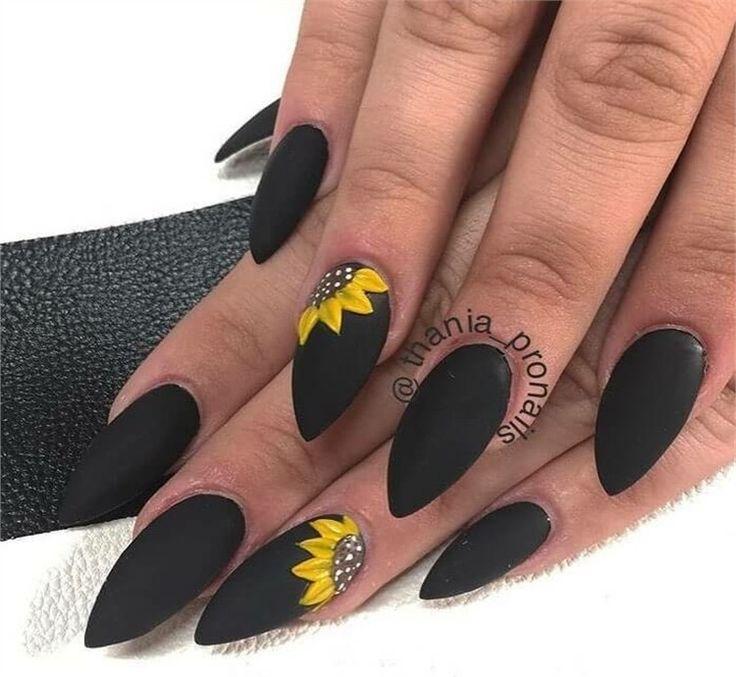 Top 100 Majestic Black Nail Art Trendy Ideas Black Nails Nail Art Designs Winter Nails Holiday Nails Sunflower Nails Yellow Nails Cute Acrylic Nails