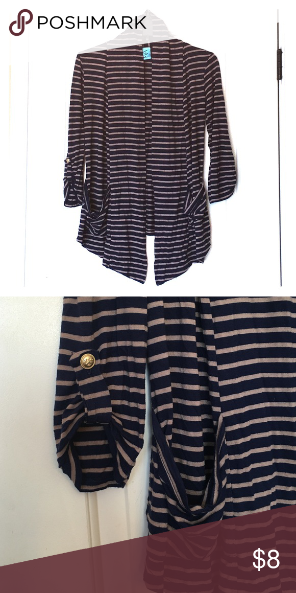 Blue and Tan Striped Cardigan Preppy striped cardigan with quarter length sleeves. Barely worn, in great condition. Can be both professional and casual. h.i.p. Sweaters Cardigans