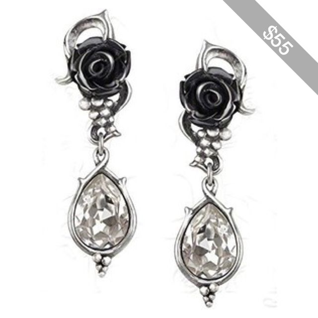 Amazon.com: Bacchanal Rose Pair of Earrings by Alchemy Gothic: Jewelry