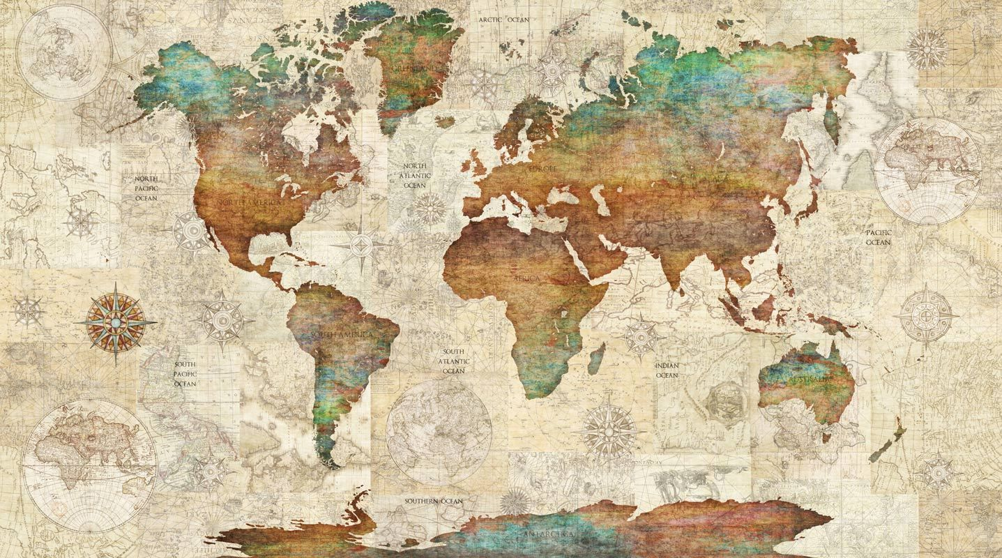 world map atlas globe earth compass art print photo canvas poster painting