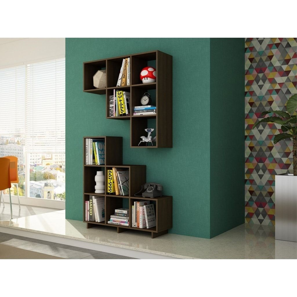 Manhattan Comfort Sophisticated Cascavel Stair Cubby With 6 Cube Shelves Set Of 2 Brown Cube Shelves Shelves Shelf Furniture