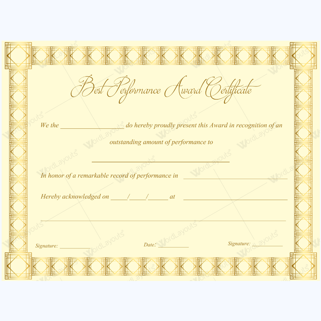 Best Performance Award Certificate   Certificate Teacher And
