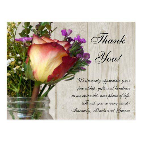 Mason Jar Rose Wildflowers Wedding/ Thank You Note Postcard Mason