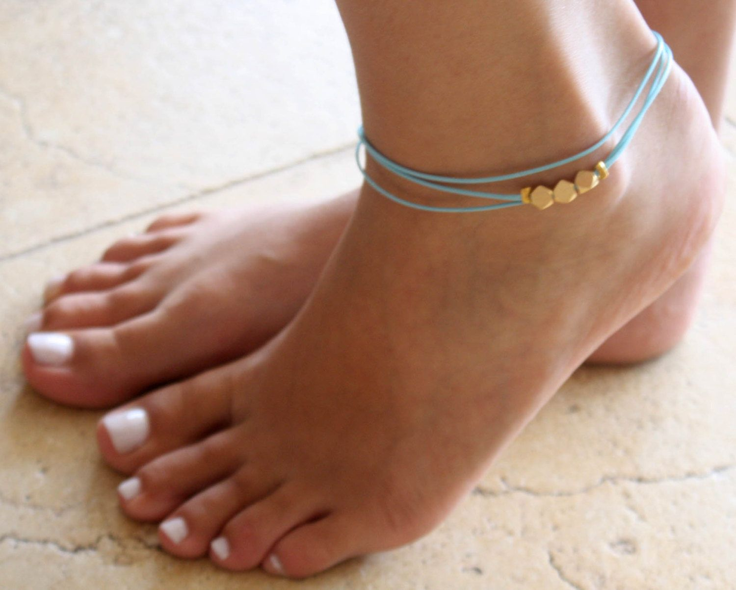 ankle good bracelets turquoise sybaris women luck bracelet olizz and for anklet gold wishbone sideways
