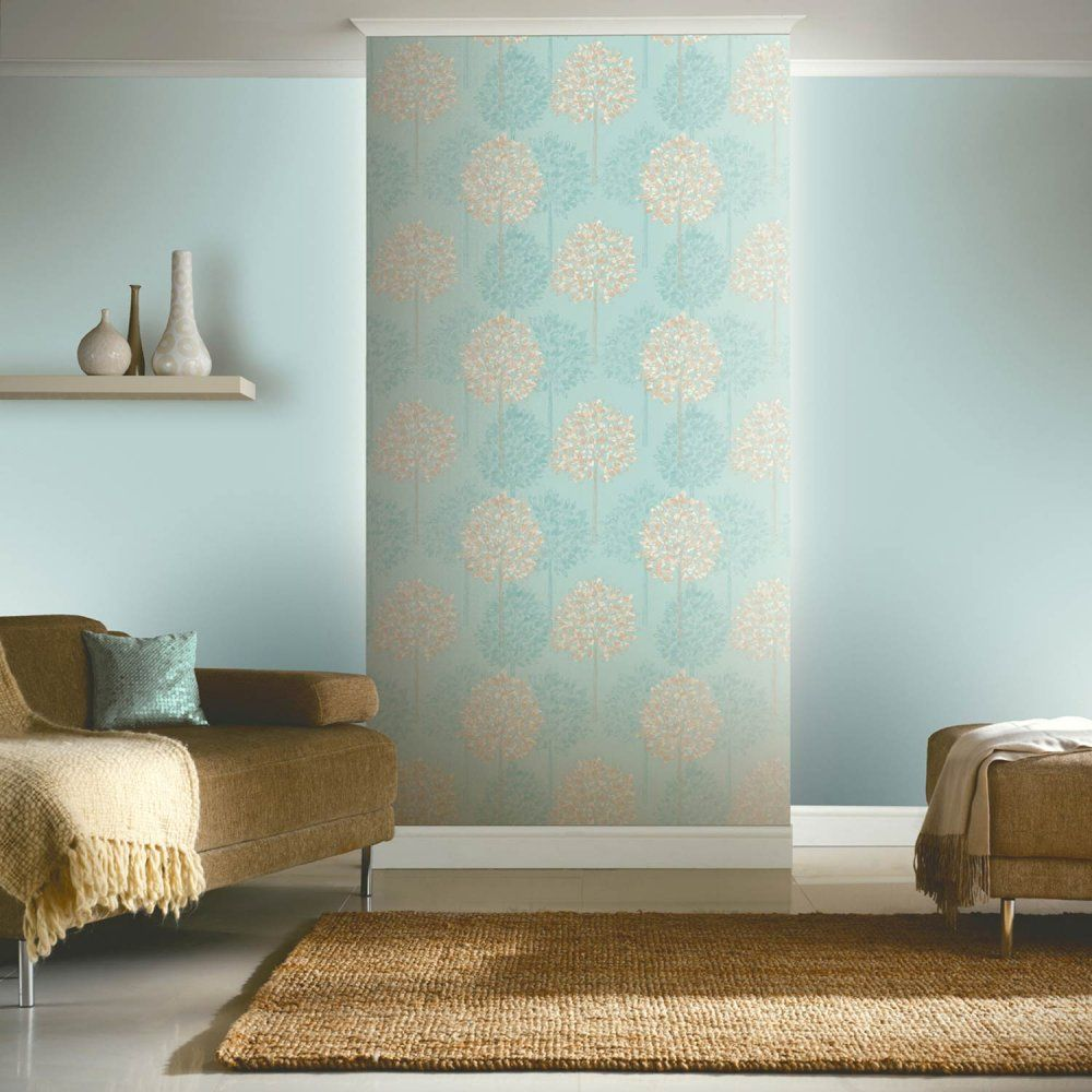 feature wall in duck egg blue Blue wallpaper living room