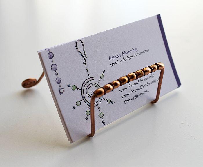 Around Wire Diy Wire Business Card Holder Business Card Displays Diy Business Cards Business Card Holders