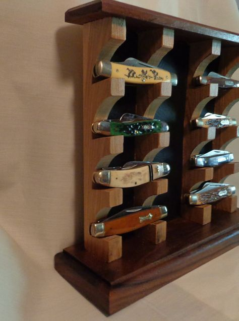 Custom Knife Display Stand Case Made From Walnut By Woodenstitch