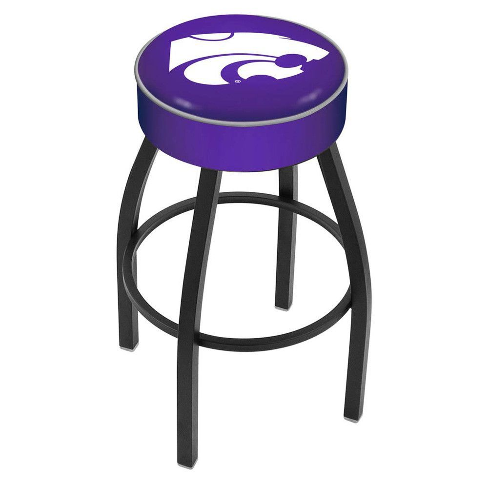 Kansas State Wildcats Black Wrinkle Swivel Bar Stool