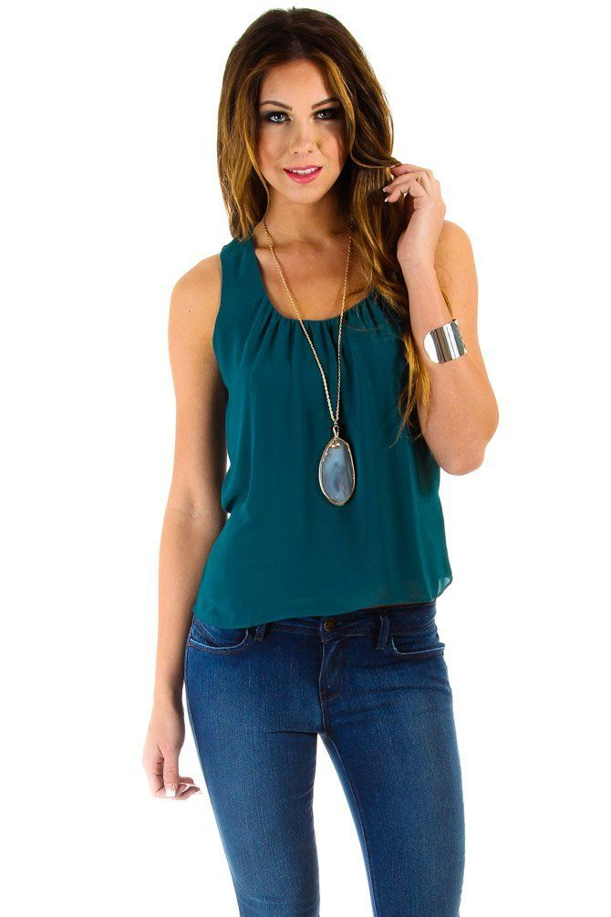 $16 at www.heavenlycouture.com Naked Zebra Sheer Back Layered Tank in Dark Teal : Tops