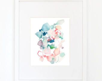 Waltz in Coral & Blue - Watercolor Art Print