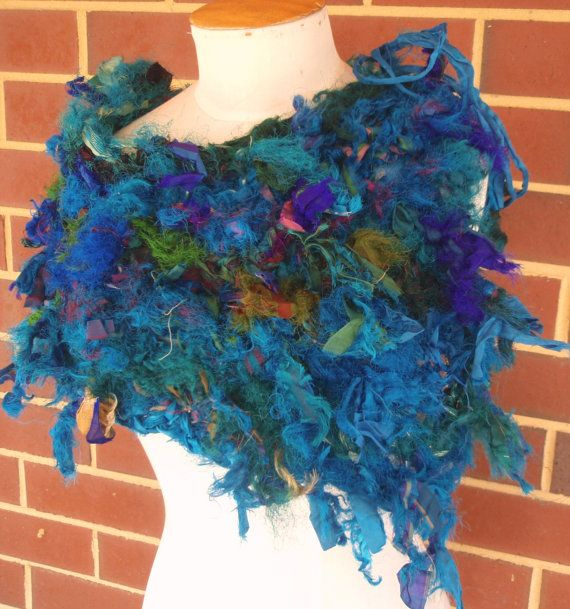 Recycled Sari Silk Peacock blue assymetrical by plumfish