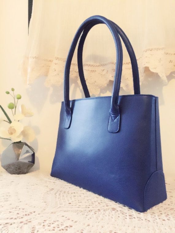 Blue leather bag, Women leather purse, Genuine leather, Women tote ...
