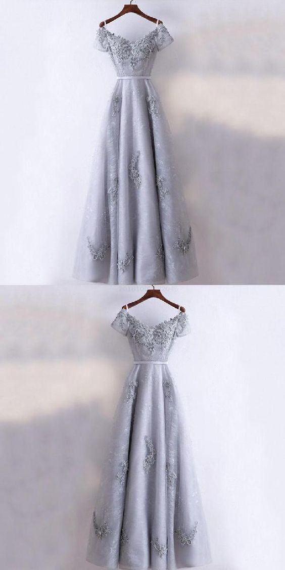 Modest Prom Dresses New Arrival Formal High Quality Prom Dresses, A-line Grey Short Sleeves Bridesmaid Dresses