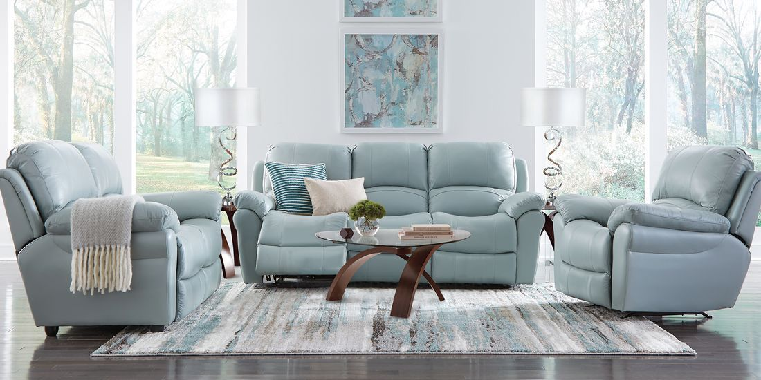Vercelli Aqua Leather 3 Pc Living Room with Reclining Sofa ...
