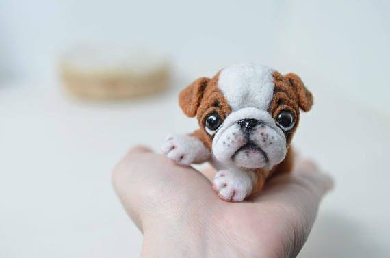 English Bulldog Puppy Little Felt Dog Sweet Animal Cute Needle