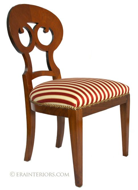 Biedermeir Chair. Biedermeir Period. Curved Back, Upholstery Stiped