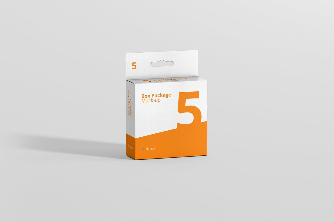 Download Package Box Mockup Flat Square With Hanger By Visconbiz On Envato Elements Box Mockup Box Packaging Packaging