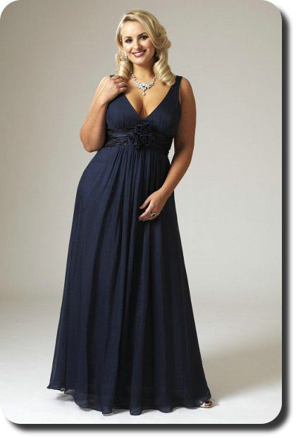 Straps Ruched V Neck Floor Length Empire Flower Navy Prom Dress Plus Size Pl