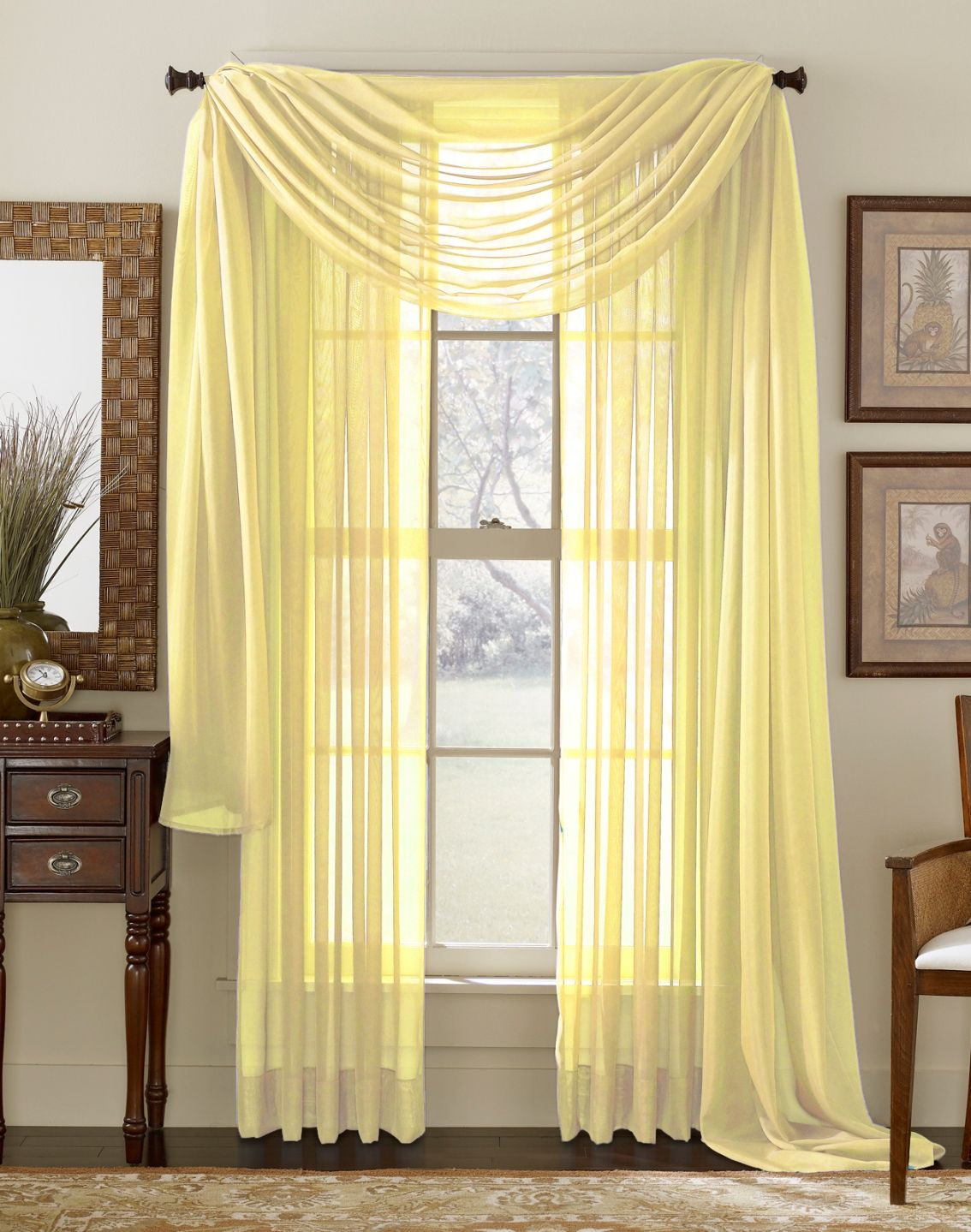 Walmart lime green curtains - Lemon Yellow Sheer Curtain Scarf