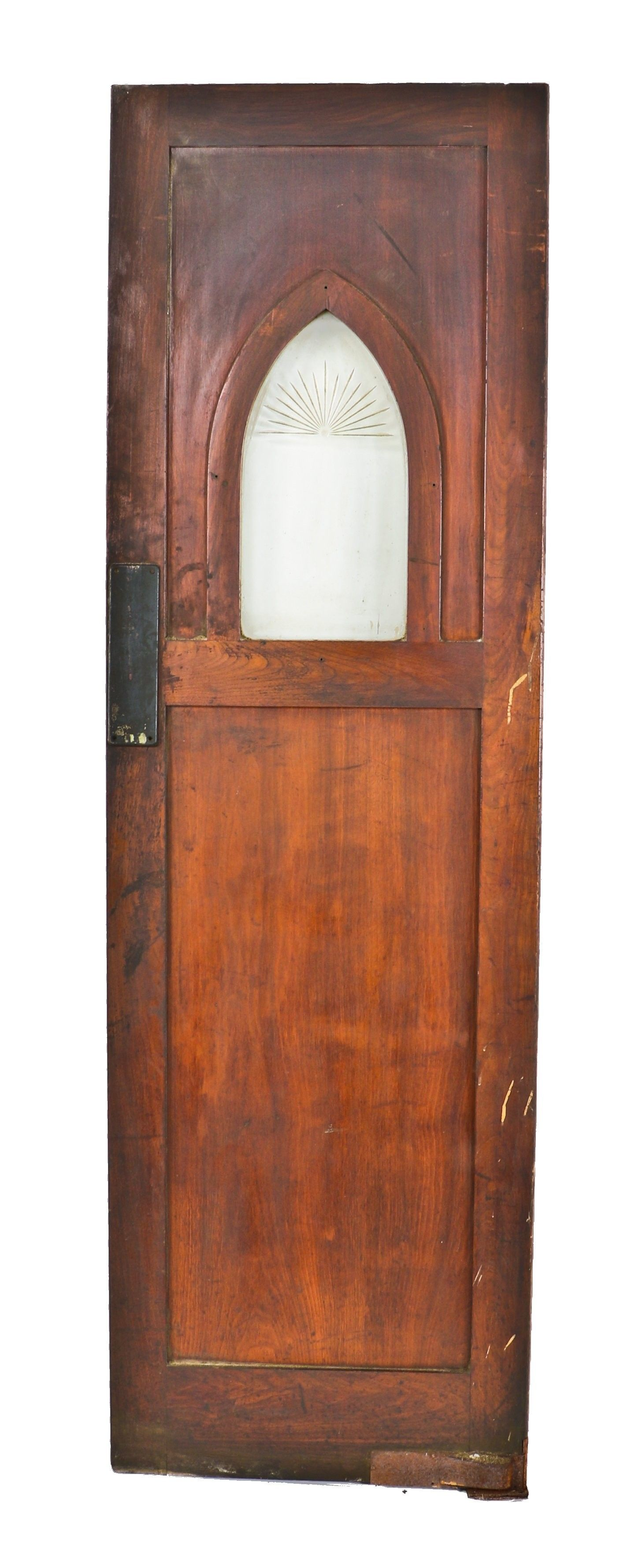 unusual late 1930's depression era antique american darkly stained mahogany  wood chicago tavern swinging door with - Unusual Late 1930's Depression Era Antique American Darkly Stained