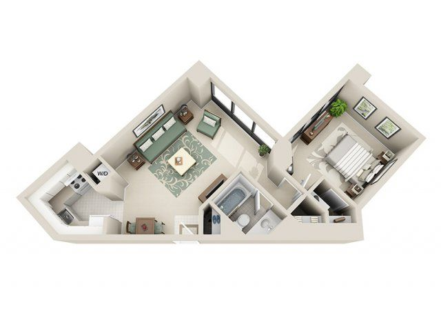 1 Bed 1 Bath Apartment In Detroit Mi Riverfront Towers Apartments My House Plans Sims House Design Small House Plans