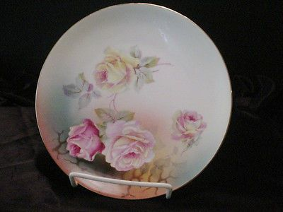 Germany Hand Painted Porcelain Pink u0026 Yellow Roses Green Decorative Plate & Germany Hand Painted Porcelain Pink u0026 Yellow Roses Green Decorative ...