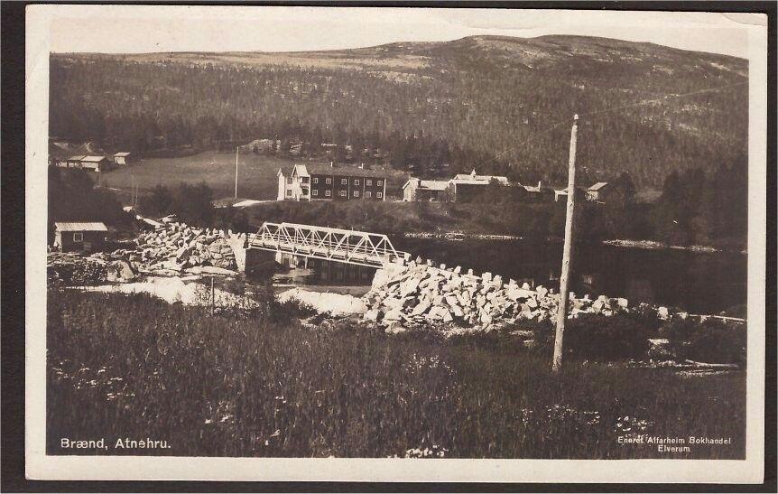 Hedmark fylke Stor-Elvdal kommune Brænd. Atnebru. Utg Alfarheim. St Hamar-Røros -1946.