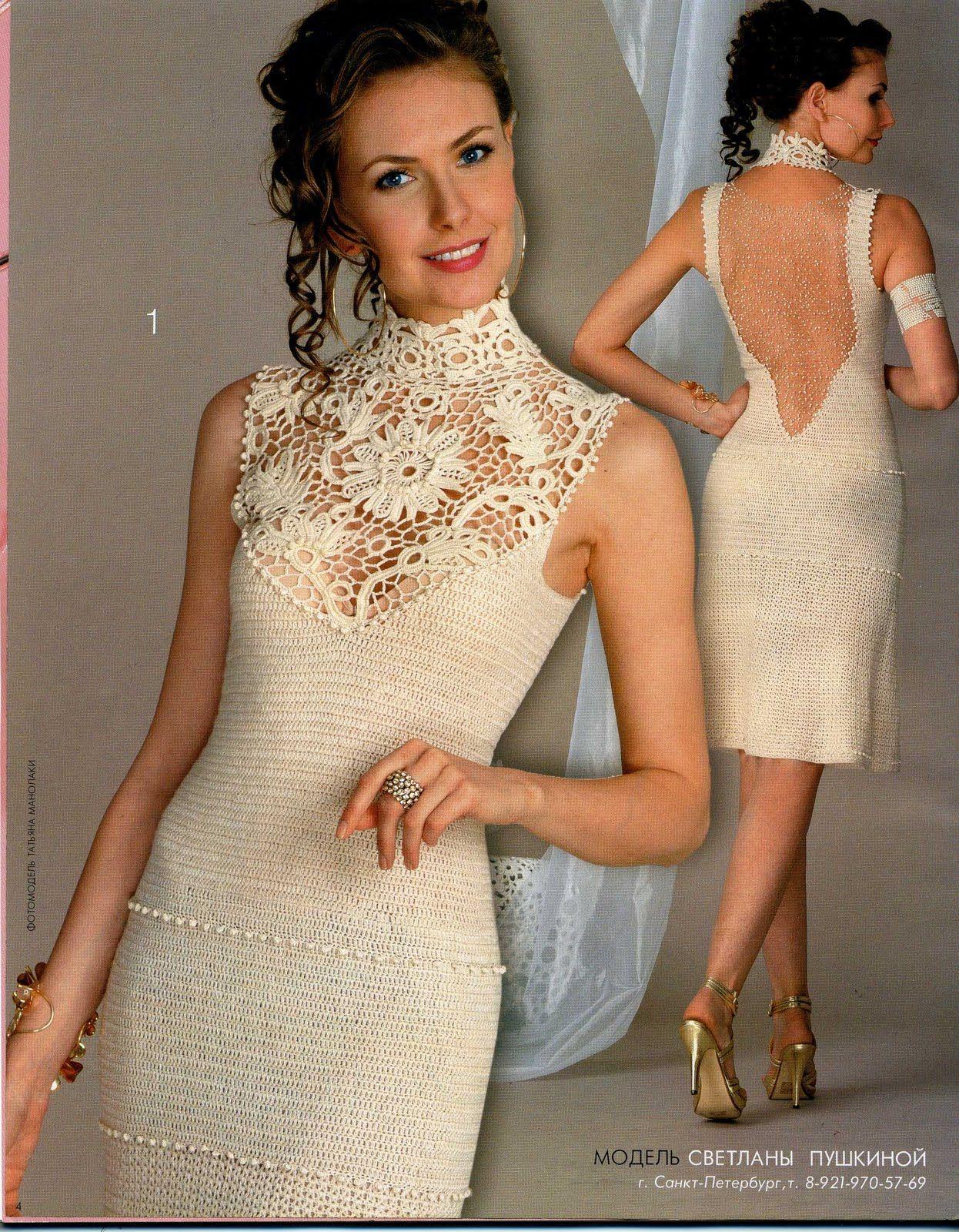 622035c88 TRICO y CROCHET-madona-mía: VESTIDOS mujer a Crochet Irlandés(ruso) con  esquemas