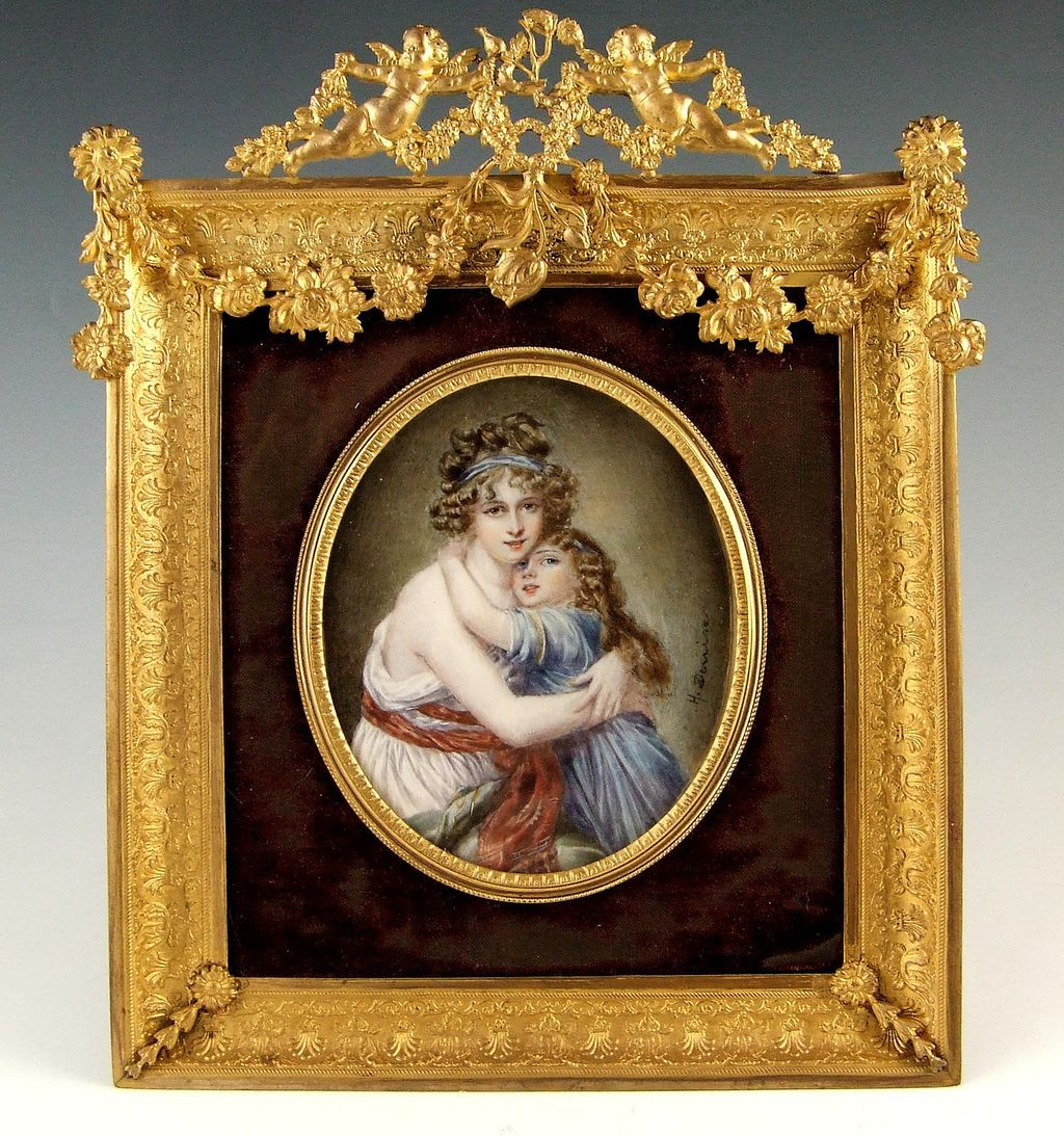 Large Antique French Miniature Portrait Ornate Gilt Bronze