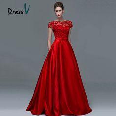 e0e011122e Dressv rojo elegante de encaje de manga corta vestidos de noche 2017 sexy  una línea de barco cuello keyhole largo mujeres formal vestido de noche  vestidos ...