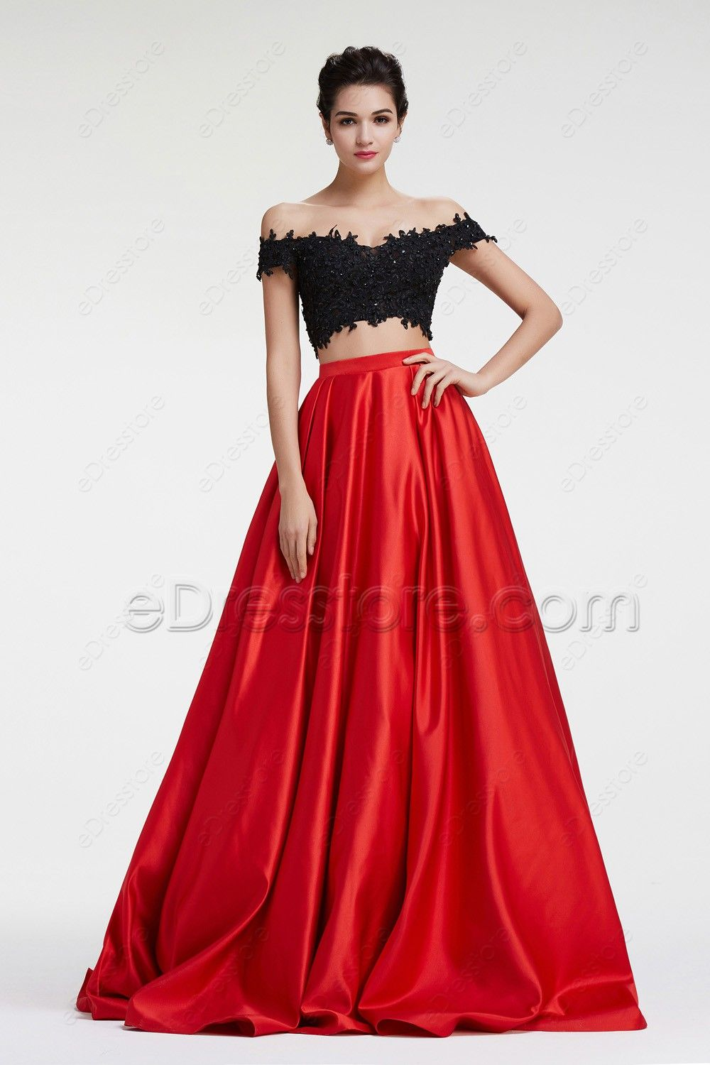 Off the Shoulder Black Red Two Piece Prom Dress Long | Fashion ...