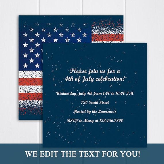 4th of july american flag invitation 4th of july party invitation