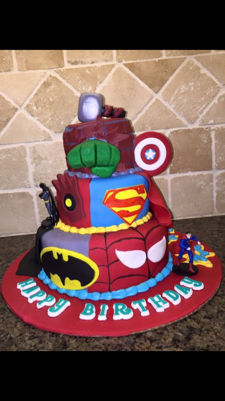 The Ultimate Superhero Cake Designed By The 5yo Birthday Boy And