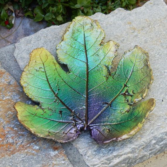 Cement Leaf, Glow In The Dark, Decorative Plate, Garden Decoration, Outdoor  Statues