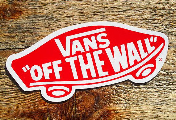 vintage 80s vans off the wall lg 5 skateboard sticker on on wall logo decal id=97431