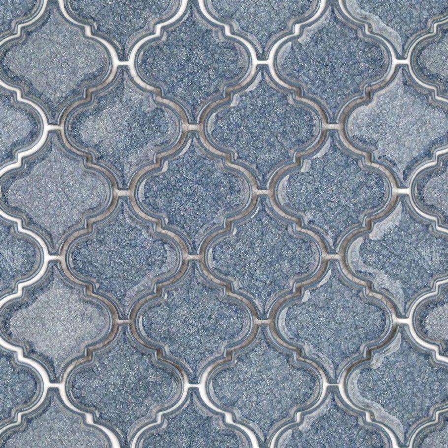 Roman Brisk Blue Arabesque Gl Tile By Shape And Pattern