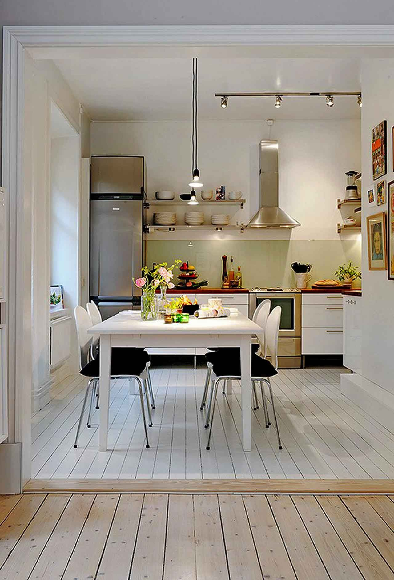 Amusing Kitchen Design For Small Apartment By White Wooden Table ...