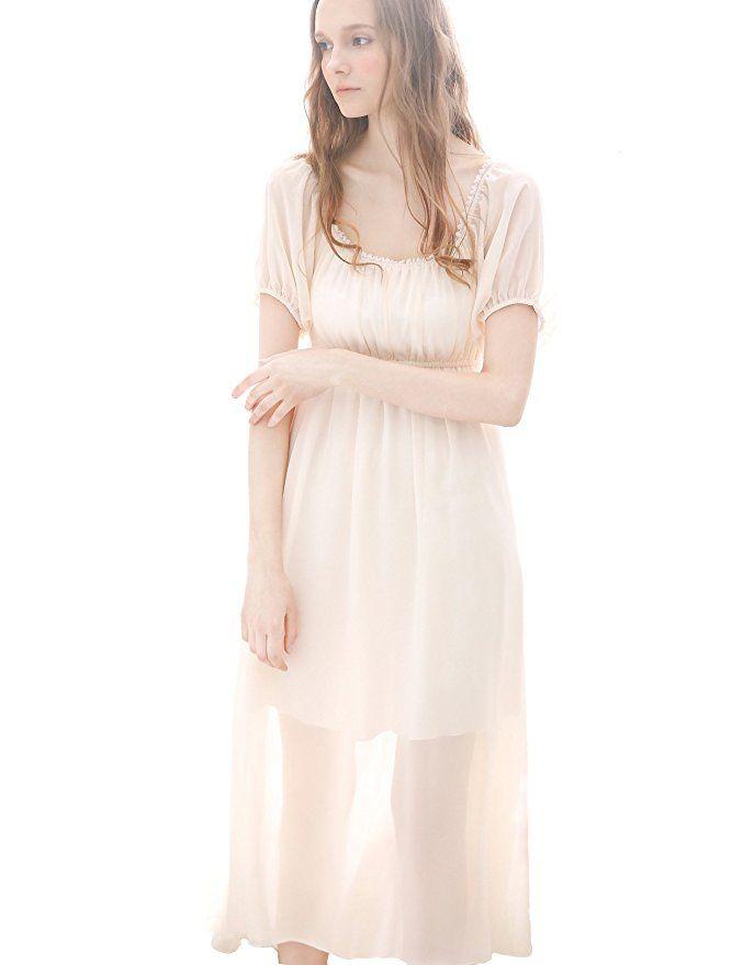 NIGHT S LURE Sleepwear Womens 100% Cotton Long Victorian Sleeveless  Nightgown at Amazon Women s Clothing store  31e5b7bd0