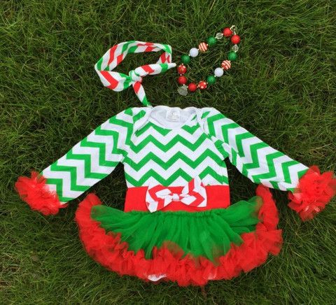Baby Girl Christmas Boutique Green Chevron Tutu Dress with Necklace and Hair Accessory Sizes 9M 12M 18M
