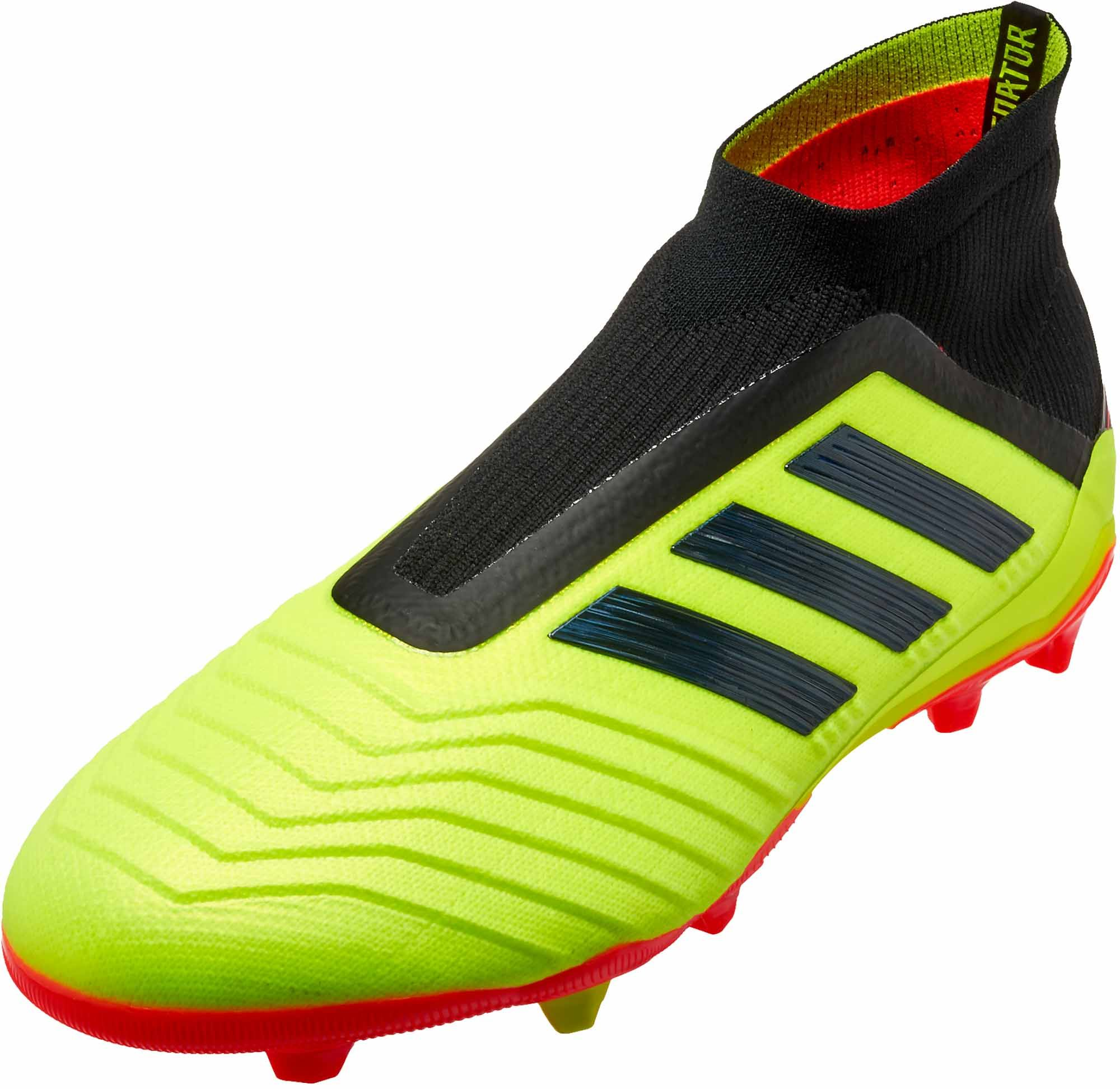 New Adidas Kids Predator 18+ FG Laceless Football Boots Unity Ink Aero  Green Hi-Res Green Kids Adidas Predator 18+  Kids Football Boots Adidas Kids  Football ... 87165e1ce