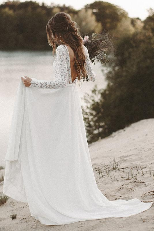Photo of #wedding dresses simple Lace Long Sleeve Wedding Dresses Chiffon Beach Bridal Dr…