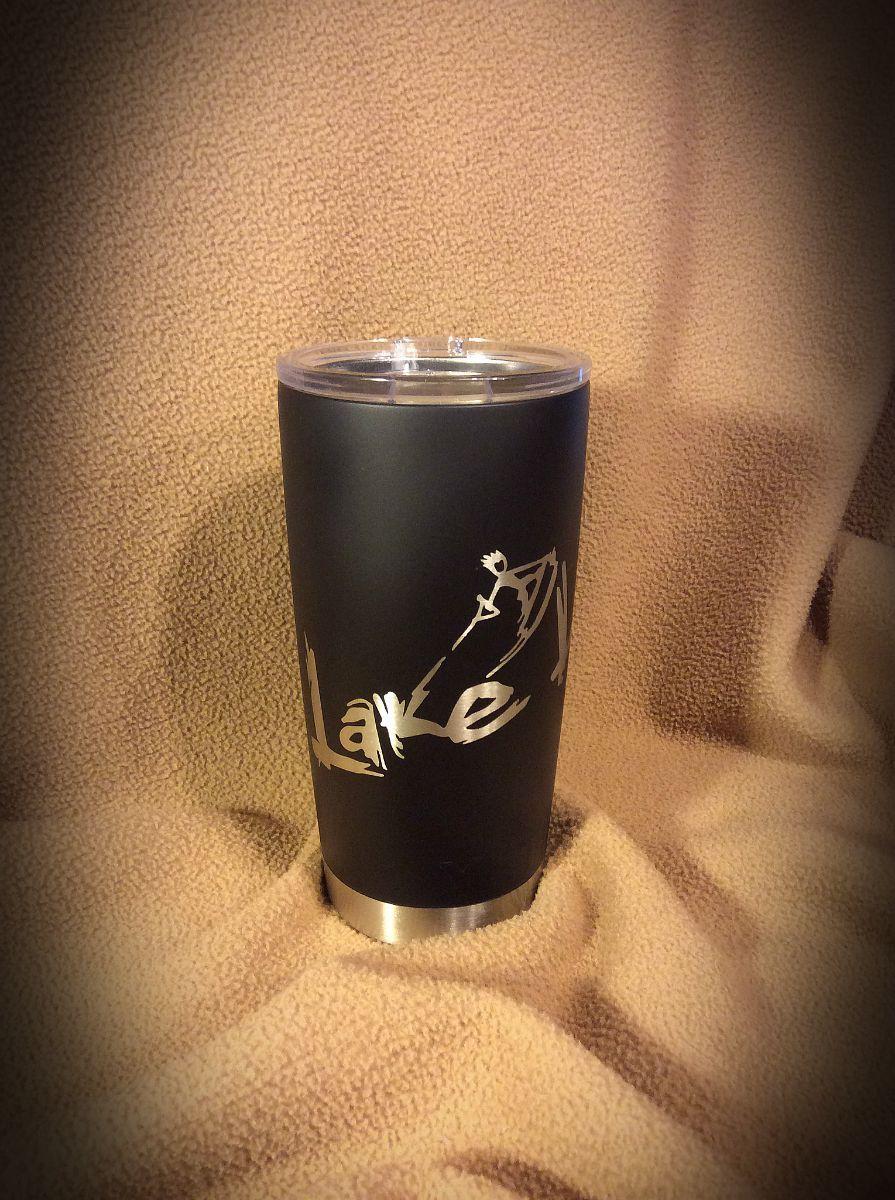 Yeti 20 oz mug in duracoat matte black and custom lake