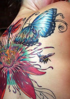 Dragonfly Butterfly Flower And Bee Tattoos On Back Inside Out
