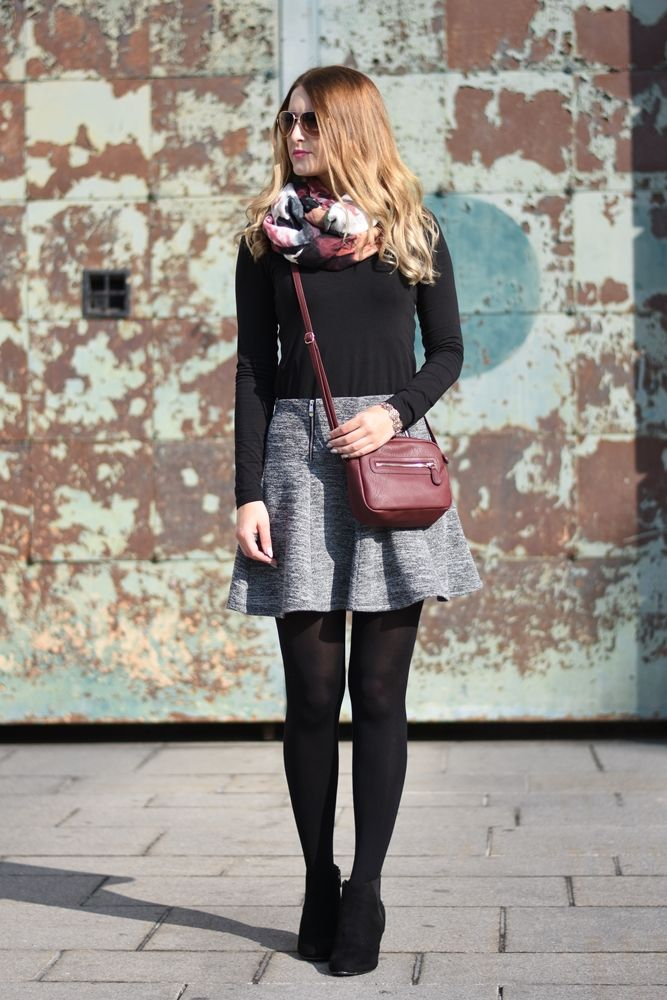 Grey Skirt #ootd | Ootd Gray and Tights outfit