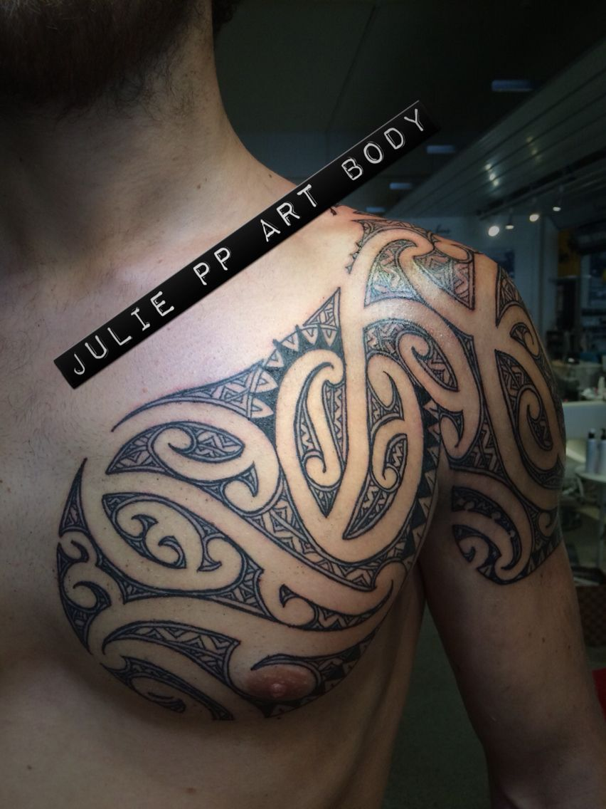 Chest And Shoulder Moko Piece