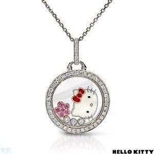 e90a1d8a1 Kimora Lee Simmons Hello Kitty 18k Gold & 925ss Diamond Sapphire Necklace  Penant