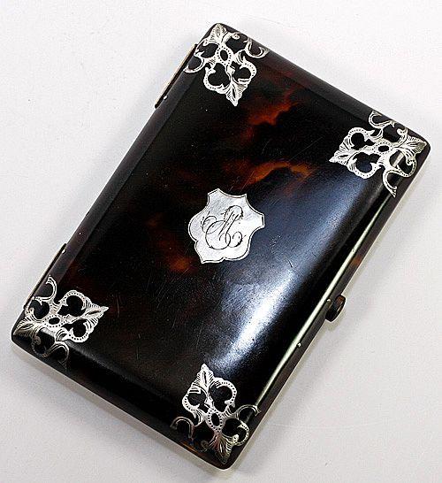 Antique Calling Card Case Necessaire Faux Tortoise Shell Ivory French Sterling